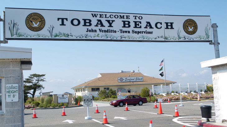 The entrance to TOBAY Beach on Ocean Parkway in Massapequa.